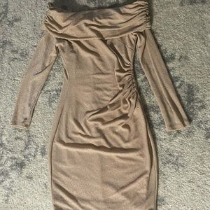 Long sleeve off-shoulder shimmer-nude dress